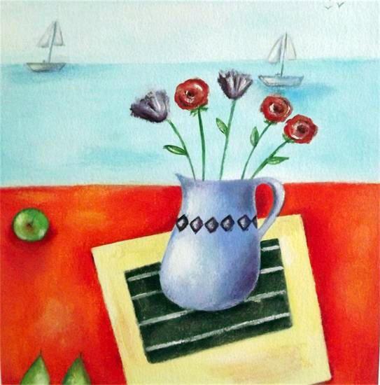 Blue Vase & Pears