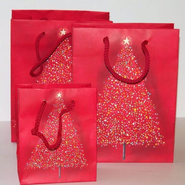 Sparkly Glittery Red Christmas Tree Gift Bags